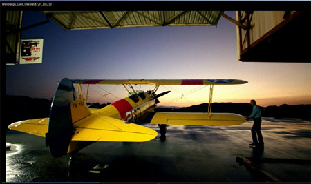 "Stearman used in Wells Fargo Comercial ""Enterpreneur/Father"""